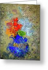 Blue Vase, Red Flowers Greeting Card