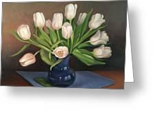 Blue Vase, White Tulips Greeting Card