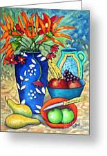 Blue Vase With Orange Flowers Greeting Card
