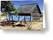 Blue Wagon Greeting Card