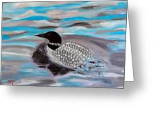 Blue Water And Loon Greeting Card