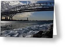 Blue Water Bridge In Winter Greeting Card