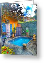 Blue Water Courtyard Greeting Card