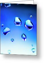 Blue Water Droplets On Glass Greeting Card