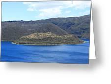 Blue Water Green Islands Greeting Card