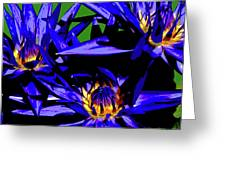 Blue Water Lily Iv Greeting Card