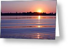 Blue Water Sunset Greeting Card