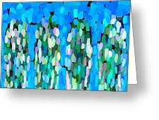 Blue Waterfalls And Teardrops Greeting Card