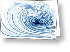Blue Wave Modern Loose Curling Wave Greeting Card