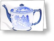 Blue Willow Teapot Greeting Card