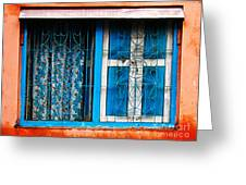 Blue Window Greeting Card