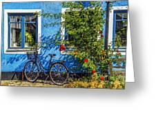 Blue Window With Bike Greeting Card