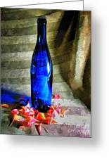 Blue Wine Bottle Greeting Card
