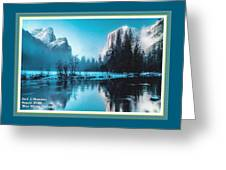 Blue Winter Fantasy. L A With Decorative Ornate Printed Frame. Greeting Card