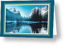 Blue Winter Fantasy. L B With Decorative Ornate Printed Frame. Greeting Card