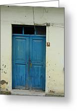 Blue Wood Door In A Building Greeting Card