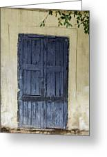 Blue Wood Door Greeting Card