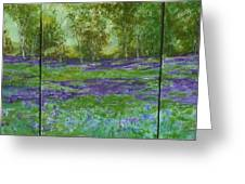 Bluebell Meadow Triptych Greeting Card