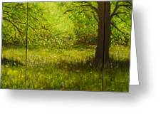 Bluebell Wood In Spring Triptych  Greeting Card