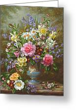 Bluebells Daffodils Primroses And Peonies In A Blue Vase Greeting Card