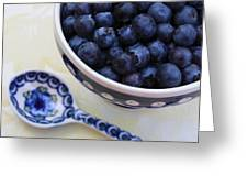 Blueberries And Spoon  Greeting Card