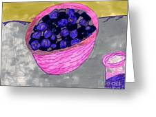 Blueberries In A Bowl Greeting Card