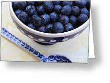 Blueberries In Polish Pottery Bowl Greeting Card