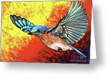 Bluebird In Flight Greeting Card
