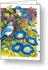 Bluebirds And Morning Glories Greeting Card