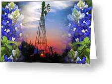 Bluebonnets And Windmill Greeting Card