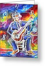 Blues Man Greeting Card by M C Sturman