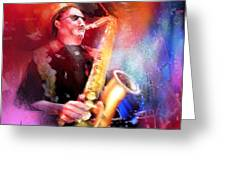 Blues Saxophonist Greeting Card