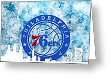 bluish backgroud for Philadelphia basket Greeting Card