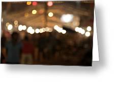 Blurred Delhi Street Scene At Night Greeting Card