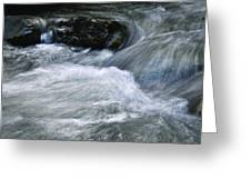 Blurred Detail Of A Mountain Stream Greeting Card