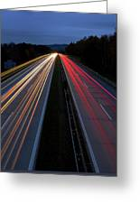 Blurred Lights Lines On Highway Greeting Card