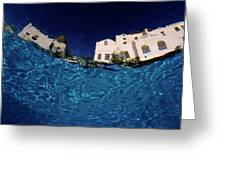 Blurred View Of A Hotel From Underwater Greeting Card