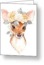 Blush Floral Deer Greeting Card