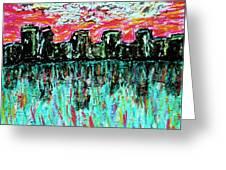 Blushing Metropolis Greeting Card