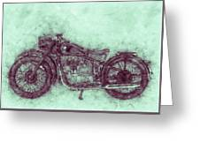 Bmw R32 - 1919 - Motorcycle Poster 3 - Automotive Art Greeting Card