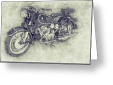 Bmw R60/2 - 1956 - Bmw Motorcycles 1 - Vintage Motorcycle Poster - Automotive Art Greeting Card