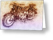 Bmw R60/2 - 1956 - Bmw Motorcycles 2 - Vintage Motorcycle Poster - Automotive Art Greeting Card