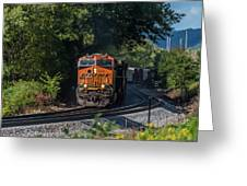 Bnsf Coming Around The Curve Greeting Card
