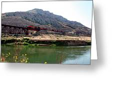 Bnsf Train Along The Wind River Greeting Card