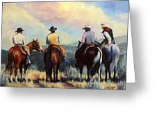 Board Meeting  Cowboy Painting Greeting Card