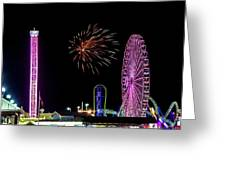 Boardwalk Fieworks At The Jersey Shore Greeting Card