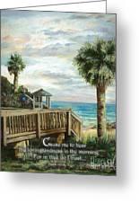 Boardwalk With Lifeguard Psalm 143 Greeting Card