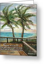 Boardwalk With Two Palms Psalm 143 Greeting Card