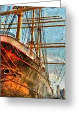 Boat - Ny - South Street Seaport - Peking Greeting Card by Mike Savad