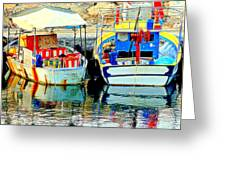 Happy And Colorful Boats In Their Own Company  Greeting Card by Hilde Widerberg